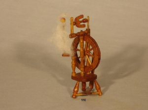 110. Upright Spinning Wheel and Stool